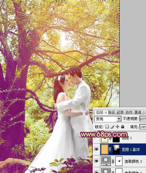 Photoshop调色调制紫色柔美树林情侣照片