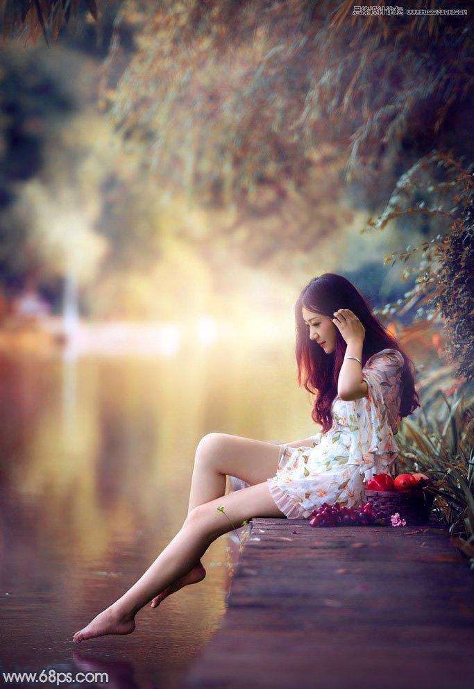 PS调色打造甜美暖色效果的外景人像照片