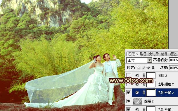 PS给偏暗山林婚纱照片添加青黄阳光色彩