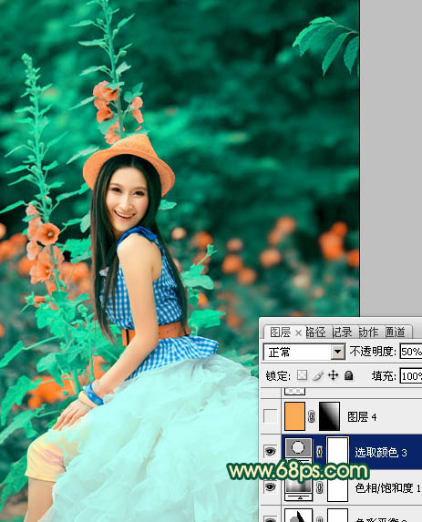 PS调色制作甜美粉橙色效果的女孩写真图片