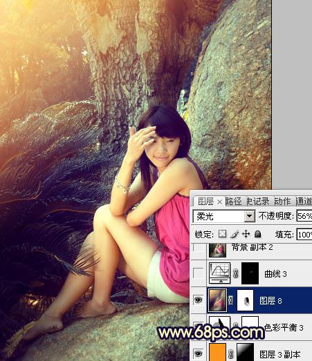 PS调色制作金黄阳光色彩的公园女孩图片