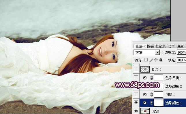 用PS调出青色海滩外景婚纱写真照片处理
