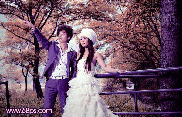 Photoshop紫橙色户外婚纱照后期处理教程