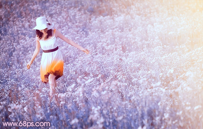 PS调色制作梦幻野花丛中的人物照片教程