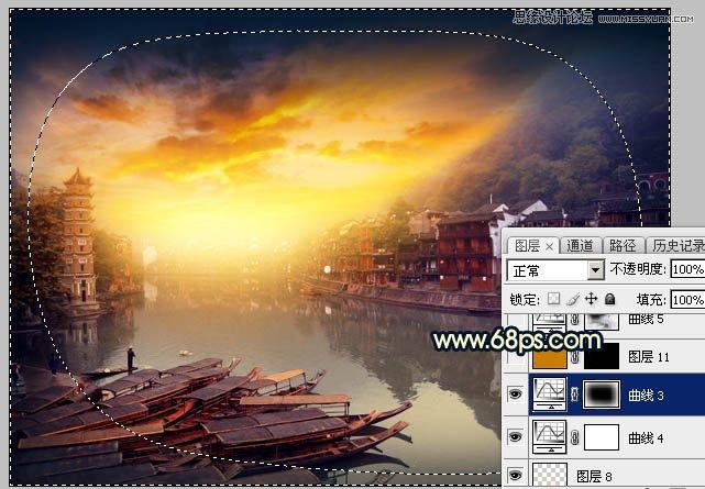 PS调色打造唯美黄昏色调的江南水乡照片