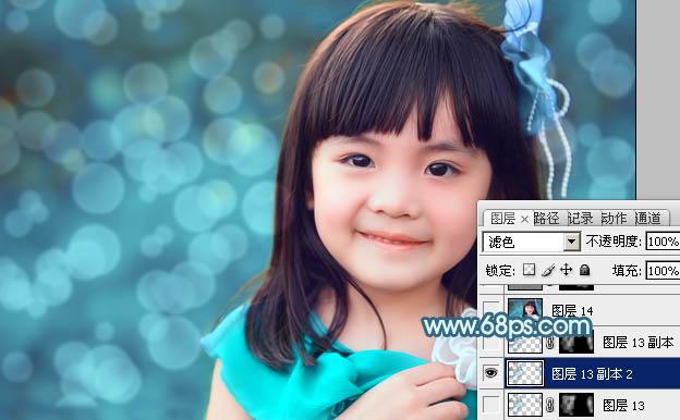 Photoshop调出青色甜美的小女孩特写照片