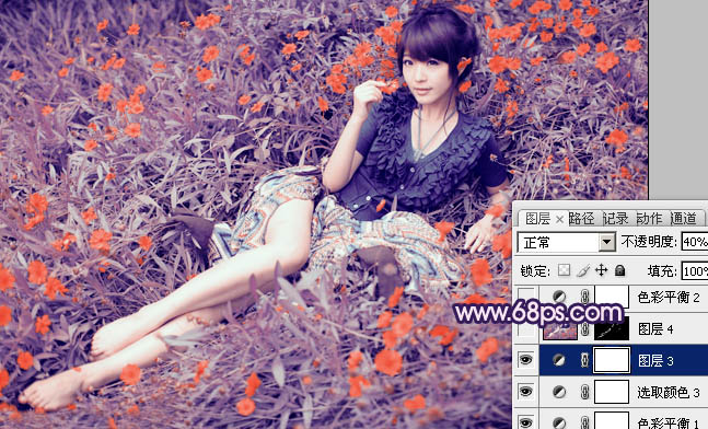 Photoshop调出躺在紫红色草丛中的人物照片