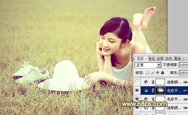 PS调色怎么调出柔和米黄色草地女孩照片
