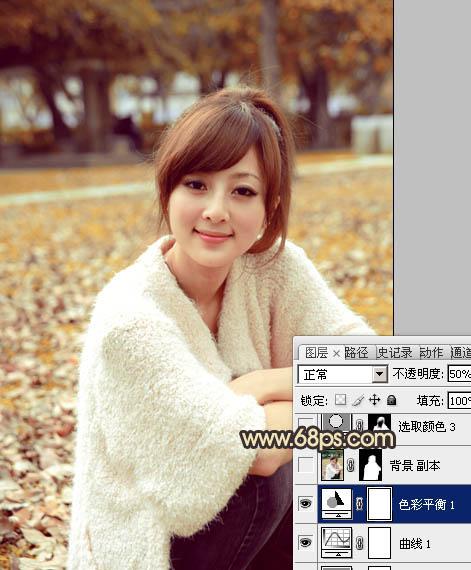 PS调出金黄色秋季公园里的清纯女孩照片