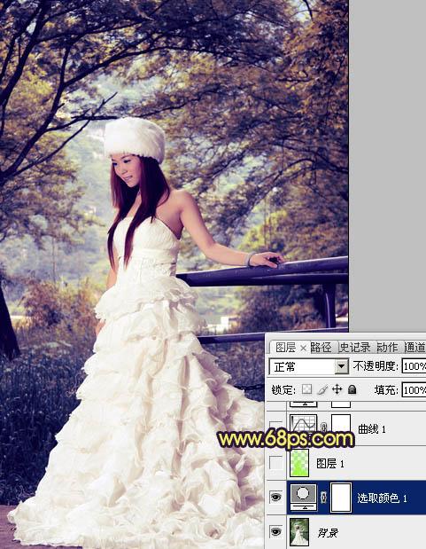 Photoshop调出青黄色彩的树林场景婚纱照片