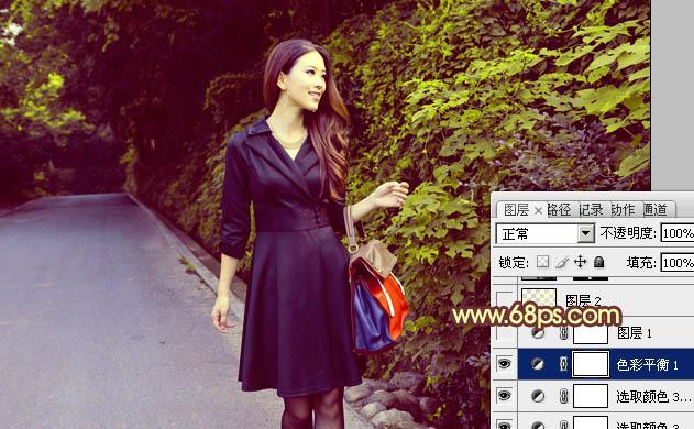 Photoshop制作紫青色模特外拍照片处理教程