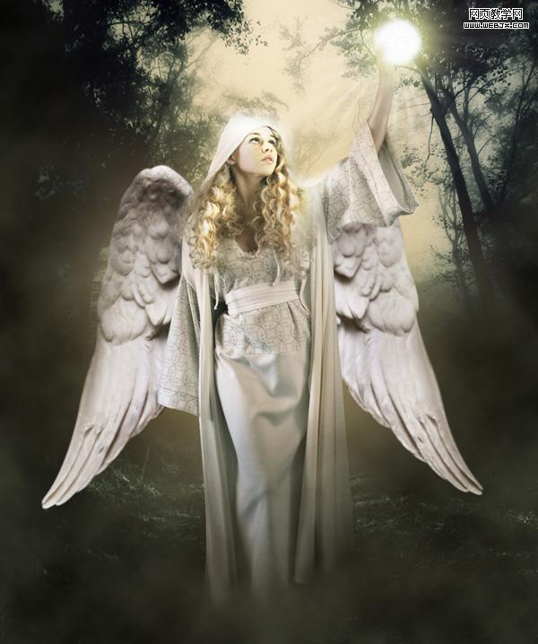 利用Photoshop素材合成暗夜天使照片教程