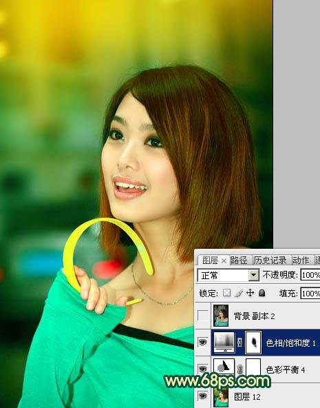 PS将暗淡人物照片背景色调成青黄渐变效果