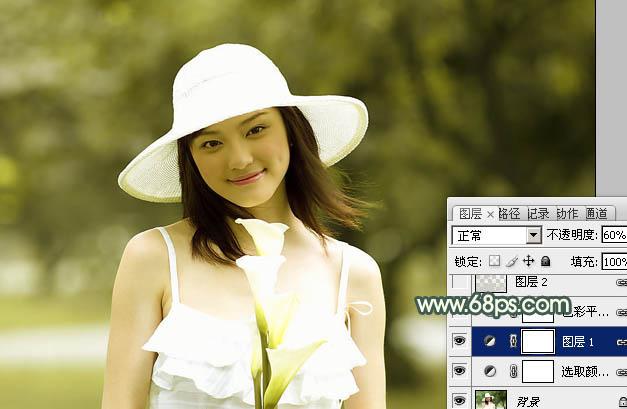 Photoshop调色素雅蓝灰色甜美女孩照片处理