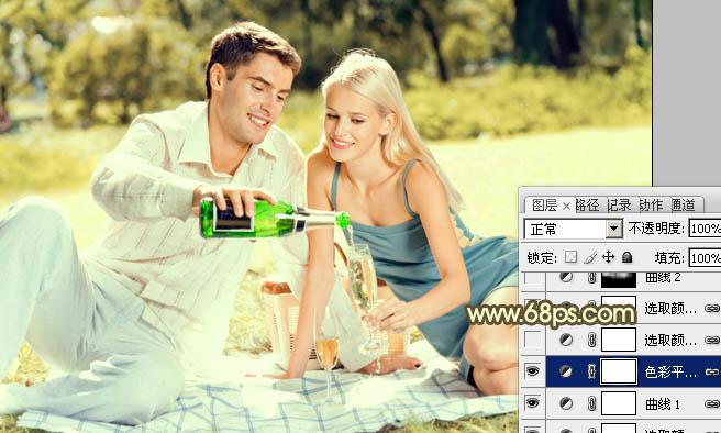 Photoshop调制暖金色阳光草地情侣图片处理