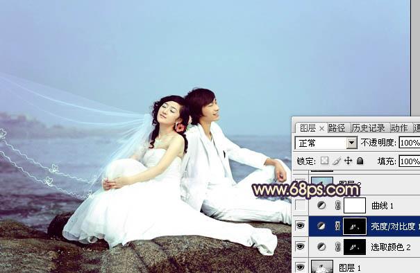 Photoshop打造素雅青紫色海景婚纱照片教程
