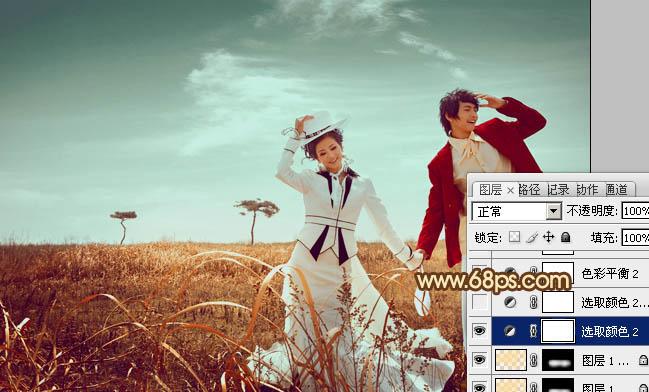 Photoshop调出漂亮青红色逆光外景情侣照片