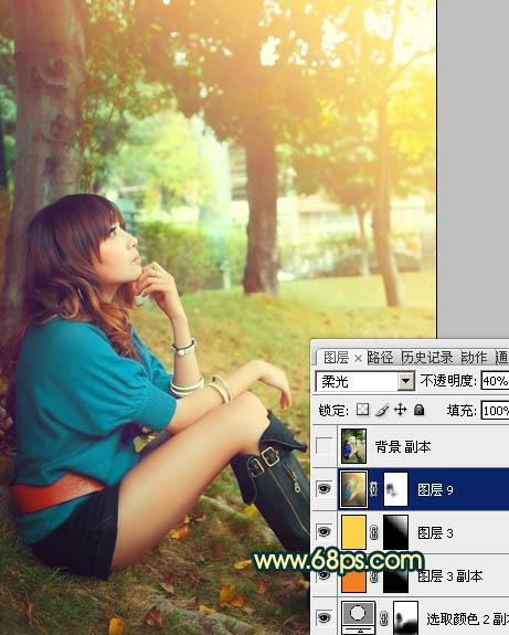 Photoshop调出金色阳光色彩的小树林美女照片