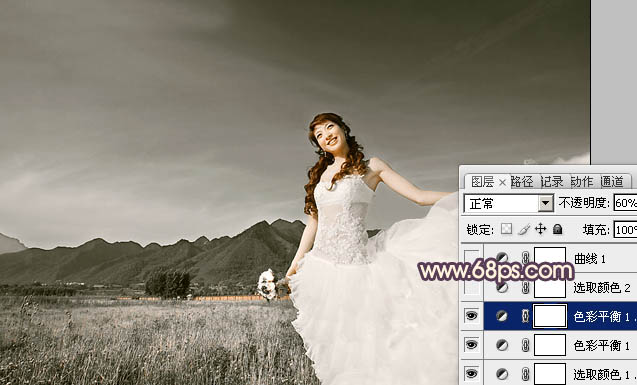 Photoshop调色柔美紫褐色高原户外婚纱照片