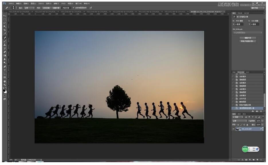 Photoshop合成创意的多重剪影人像效果图片