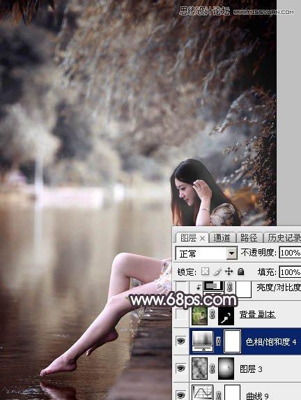 Photoshop调出LOMO暗色调的河边美女人像