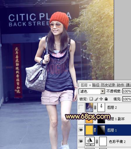 Photoshop调成纯美蓝色渐变色彩街拍美女图片