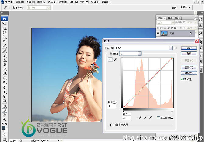 蔚蓝色天空背景的写真图片后期PS处理教程
