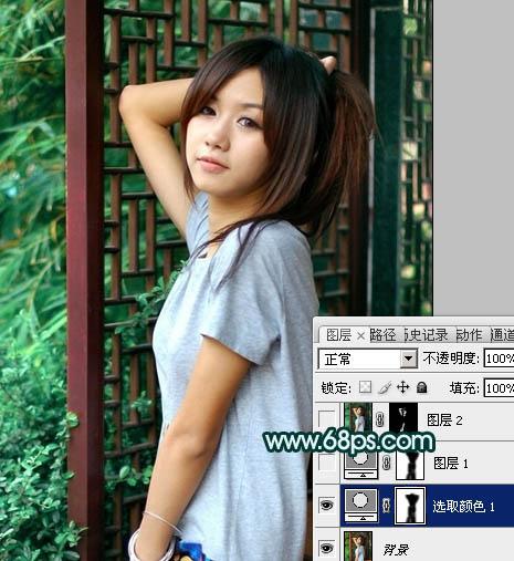 Photoshop调出暗青色古典背景的女孩图片