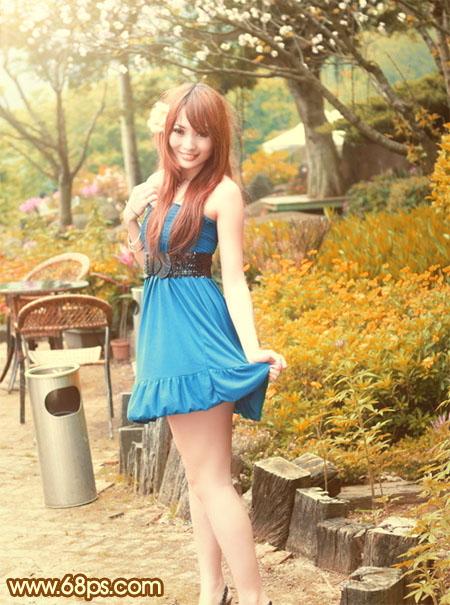 PS调色打造金黄秋色背景的公园女孩照片