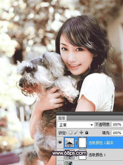 Photoshop制作黄褐色水彩女孩照片教程