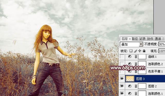 Photoshop调出橙绿色的荒野草原上人物照片