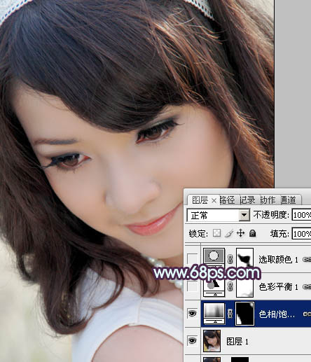 Photoshop调出紫色头发的润白肌肤美女照片