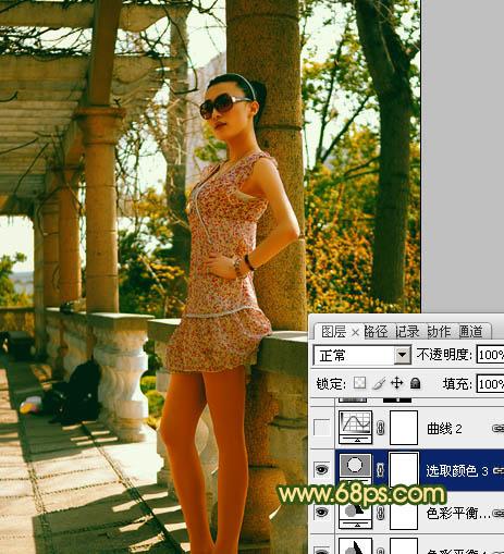 Photoshop调出怀旧橙绿色的气质美女照片
