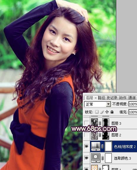 Photoshop给女孩图片加深色彩及润肤美化教程