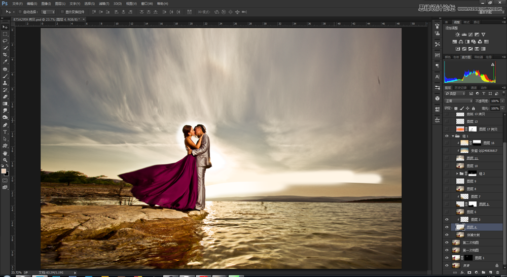 Photoshop给海边情侣照片添加唯美夕阳景色