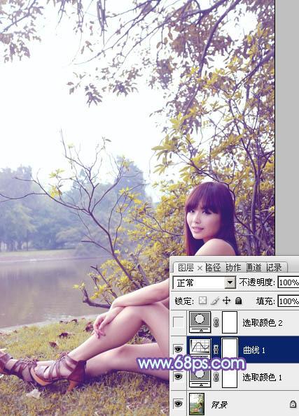 Photoshop调出河边上的黄紫色清新女孩图片