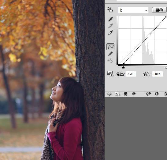 Photoshop调出昏暗树阴下的秋色女孩图片