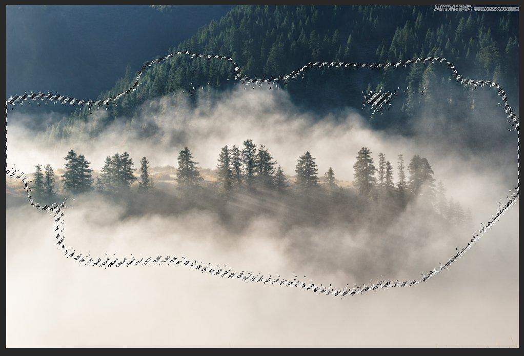 Photoshop调出清新效果的山林雾气照片