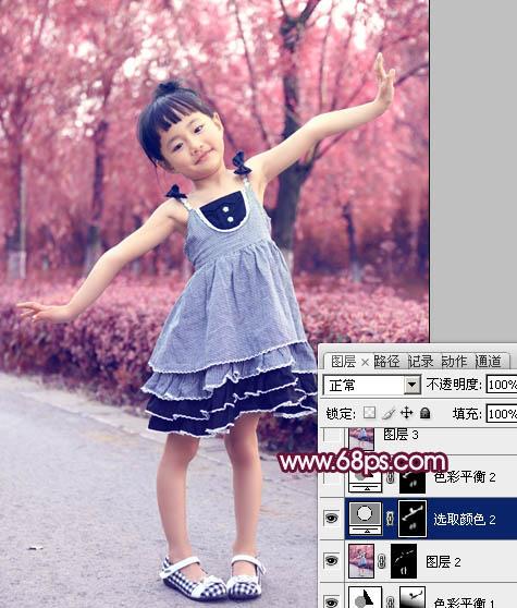 Photoshop制作紫红色外景儿童照片调色教程