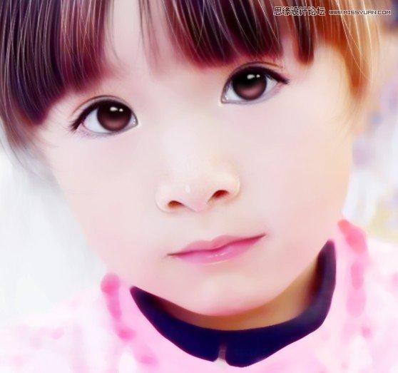 Photoshop制作转手绘效果的外景儿童照片教程