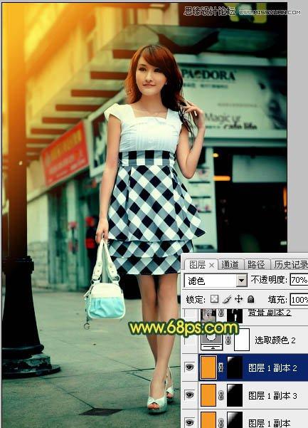 Photoshop给街道上行走女孩添加复古逆光效果