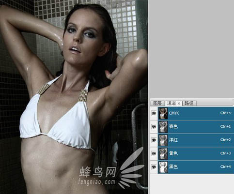 Photoshop调出黝黑性感美女皮肤调色处理教程