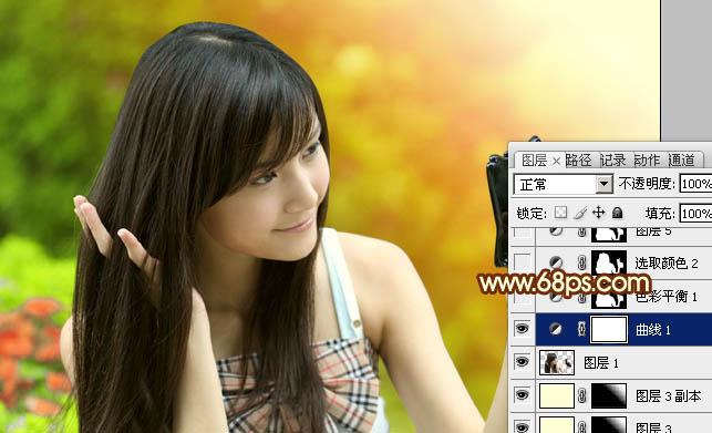 Photoshop制作色彩鲜艳的橙绿色阳光少女照片