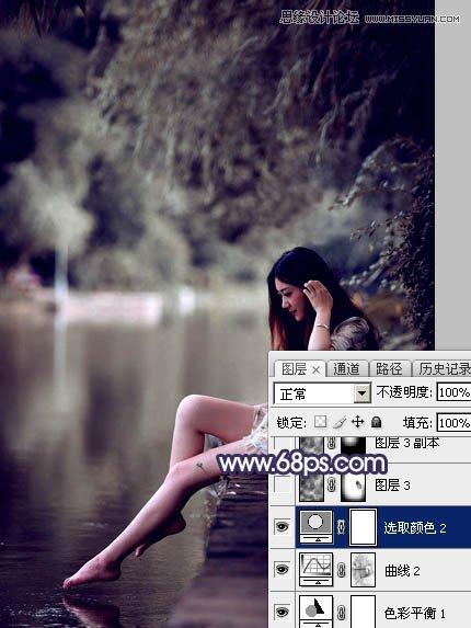 Photoshop给河边女孩添加冬季唯美雪景效果