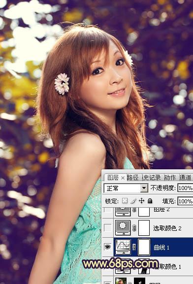 Photoshop调出紫蓝色可爱女孩图片处理教程