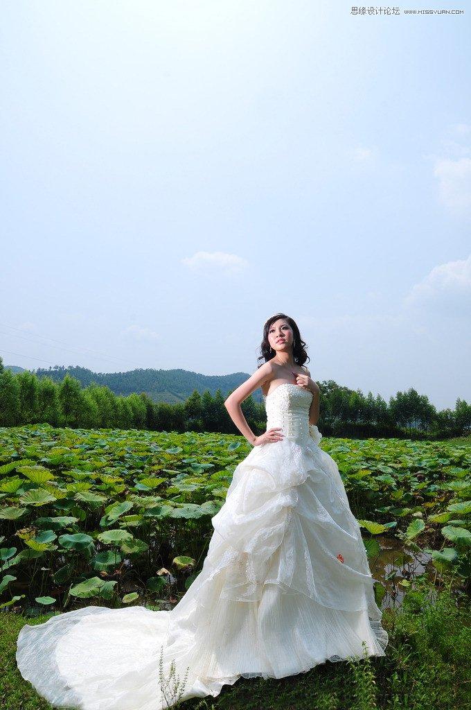 Photoshop给外景婚纱照片添加夕阳艺术效果