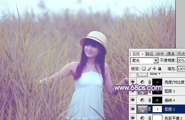 Photoshop调出黄紫色的芦苇丛中女孩照片