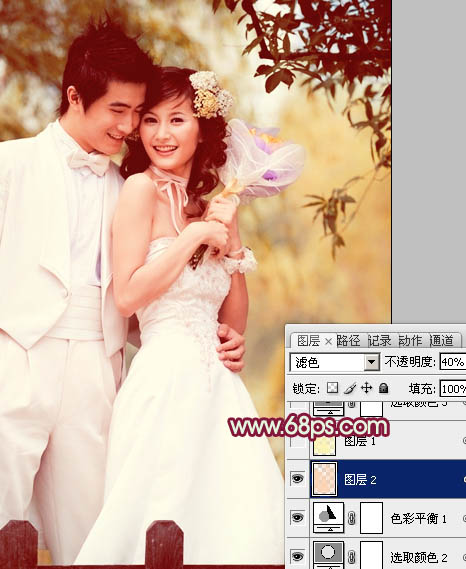 Photoshop褐色甜美的古典婚纱照片处理教程