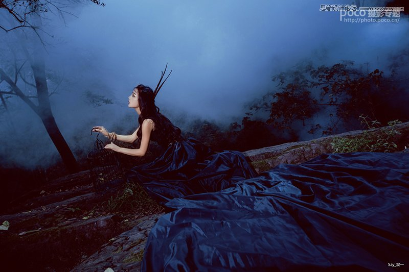 Photoshop调出唯美蓝色艺术效果的外景人像