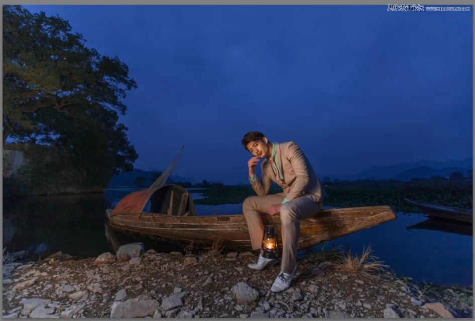 Photoshop调出唯美夜景效果外景新郎照片